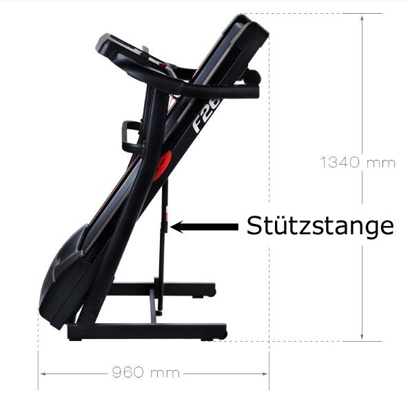 Laufband-Test-zusammenklappbar-Stützstange-F26-Sportstech